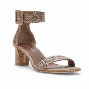 NWT DONALD PLINER FAE Woven Metallic Heeled Sandal
